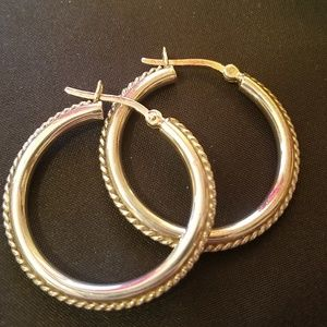 Jewelry - 925 solid silver large vintage hoops